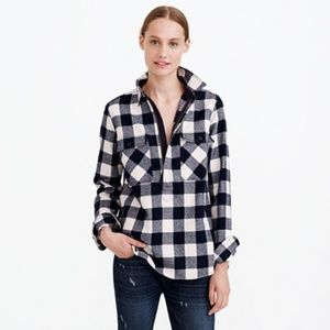 J. Crew Women's M Buffalo Check Shirt Jacket Navy
